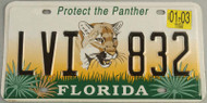 2003 Jan Florida License Plate Protect the Panther