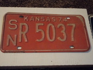 1974 KANSAS License Plate SN R 5037