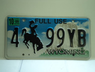 2009 Wyoming Full Use License Plate 4 99YB