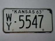 1963 KANSAS License Plate WY 5547