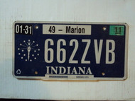 2011 INDIANA License Plate 662ZVB Marion county