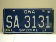 1986 IOWA Special License Plate SA 3131