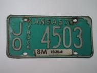 1970 KANSAS 8M Truck License Plate JO 4503