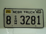 2004 NEBRASKA Commercial Truck License Plate 8 3281