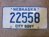 Nebraska City Government 22558 License Plate