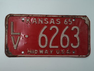 1965 KANSAS Midway USA License Plate LV 6263