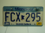 2002 MINNESOTA Explore 10,000 Lakes License Plate FCX 295