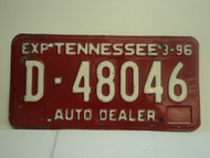 1996 TENNESSEE Auto Dealer License Plate D 48046