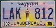 2009 Feb Mississippi LAK 812 License Plate