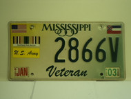 MISSISSIPPI Army Veteran License Plate 2866V