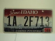 2012 IDAHO Scenic Famous Potatoes License Plate 1A 2F713