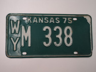 1975 KANSAS License Plate WY M 338