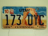 2012 UTAH Centennial 1896 License Plate 173 UYC