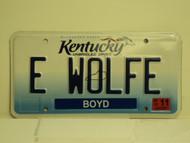 2013 KENTUCKY Unbridled Spirit VANITY License Plate E WOLFE