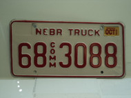2002 NEBRASKA Commercial Truck License Plate 68 3088 1