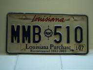 2007 LOUISIANA Bicentennial Purchase License Plate MMB 510
