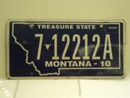 2010 MONTANA Treasure State License Plate 7 12212A