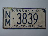 1960 KANSAS 1961 Centennial License Plate NM 3839