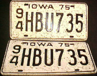 1975 Iowa 94 Webster License Plate PAIR