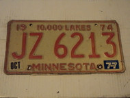 1974 (1977 Tag) MINNESOTA 10,000 Lakes License Plate JZ-6213