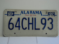 1997 ALABAMA Heart of Dixie License Plate 64CHL93