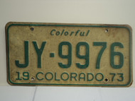 1973 COLORADO Colorful License Plate JY 9976 1