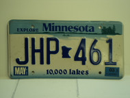 2003 MINNESOTA Explore 10,000 Lakes License Plate JHP 461