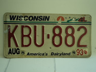 1993 WISCONSIN America's Dairyland License Plate KBU 882