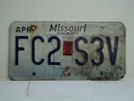 2012 MISSOURI Blue Bird License Plate FC2 S3V