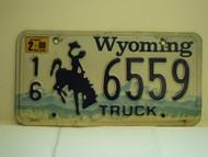 2000 WYOMING Bucking Bronco Truck License Plate 16 6559
