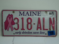 2013 MAINE Pink Ribbon Cancer Early Detection License Plate 318 ALN