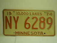 1974 MINNESOTA 10000 Lakes License Plate NY 6289 1