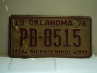 1976 OKLAHOMA Bicentennial License Plate PB 8515
