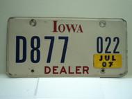2007 IOWA Dealer License Plate  D877 022