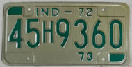 1972 1973 Indiana 45H9360 License Plate IND-72