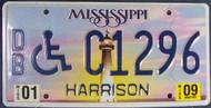 2009 Jan Mississippi DB C1296 License Plate