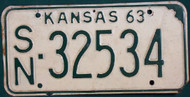 1963 Shawnee Co Kansas License Plate SN 32534