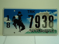 WYOMING Bucking Bronco Devils Tower Truck License Plate 18 7938 1