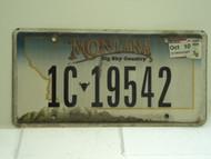 2010 MONTANA Big Sky License Plate 1C 19542