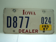 2007 IOWA Dealer License Plate  D877 024