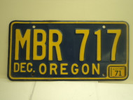 1971 OREGON License Plate MBR 717