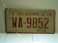 1978 OKLAHOMA License Plate WA 9852