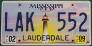 2009 Feb Mississippi LAK 552 License Plate