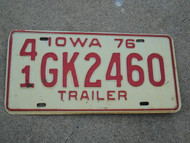 1976 IOWA Trailer License Plate 41 GK2460