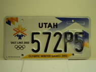 UTAH Salt Lake City Winter Olympics 2002 License Plate 572P5