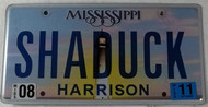 2011 Aug Misissippi Vanity License Plate SHADUCK