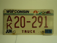 2002 WISCONSIN Truck License Plate AK 20 292