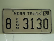 2004 NEBRASKA Commercial Truck License Plate 8 3130