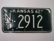 1962 KANSAS License Plate NT 2912