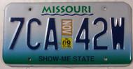 November 2009 Missouri License Plate 7CA-42W #1